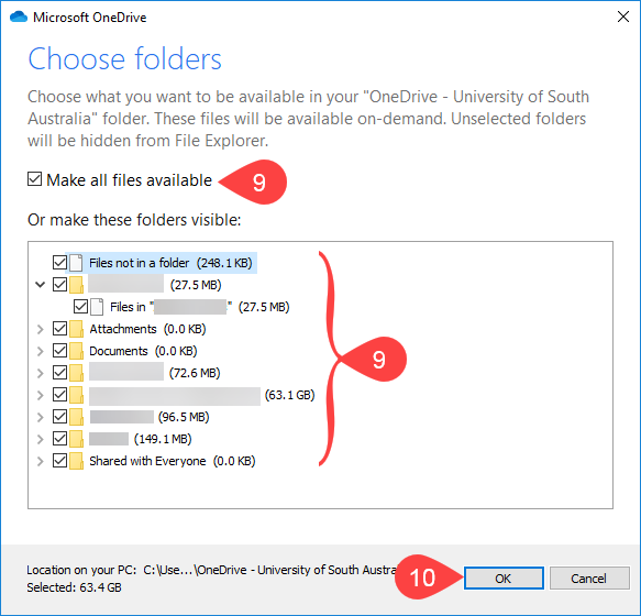Screenshot of choosing OneDrive folders to sync