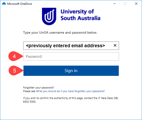 Screenshot of UniSA Federation login screen