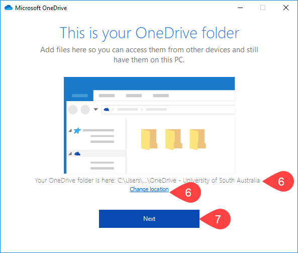 Screenshot of OneDrive folder location