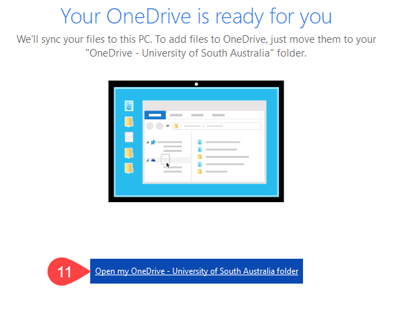 Screenshot of OneDrive setup successful
