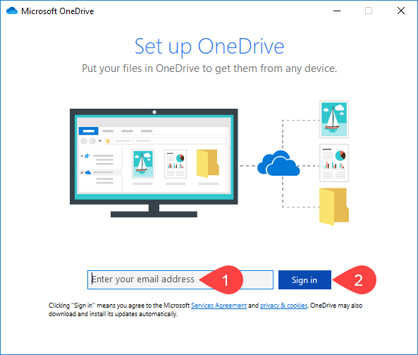 Screenshot of OneDrive sign in