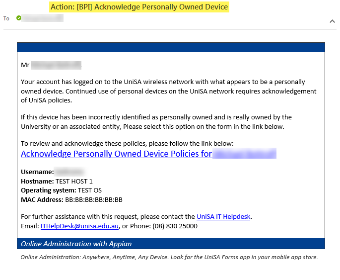 Action: [BPI] Acknowledge Personally Owned Device - Intranet