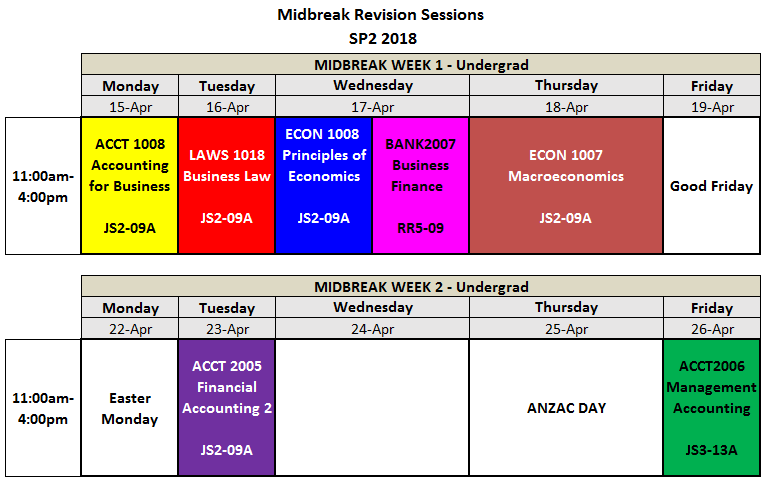 MidBreak Session Timetable SP2 2019