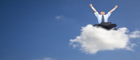 Depiction of person sitting on a cloud