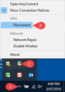 Disconnecting from VPN