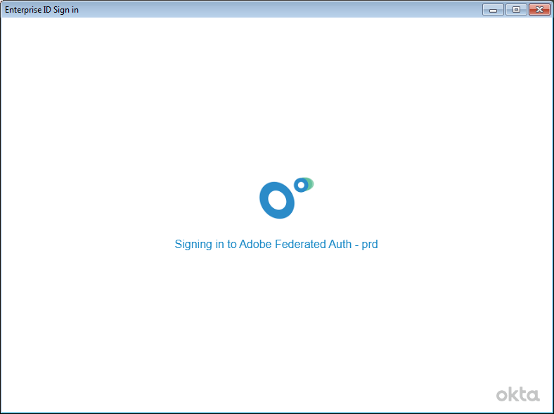 Screenshot of Adobe Federation screen