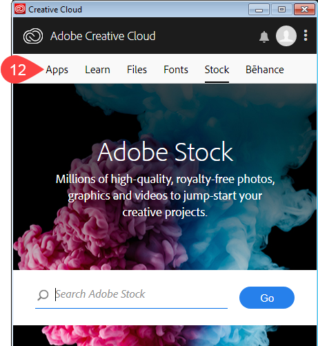 Screenshot of Adobe Stock screen