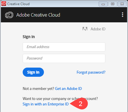 Screenshot of initial Adobe CC login screen
