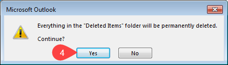 confirm empty deleted items