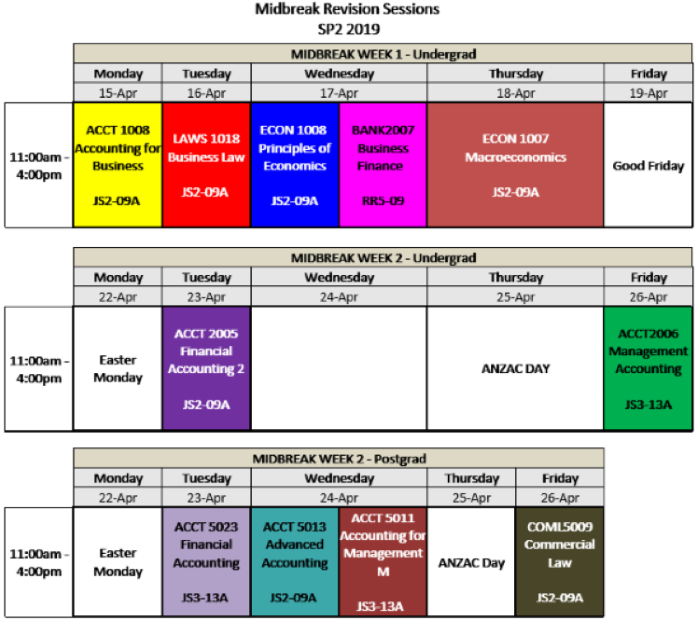 Midbreak Timetable SP2 2019