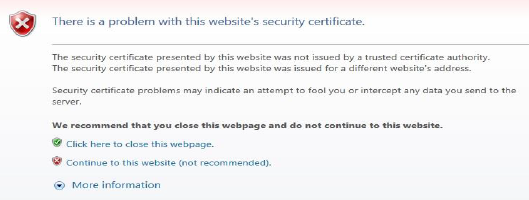Screenshot of warning regarding problem with website's security certificate