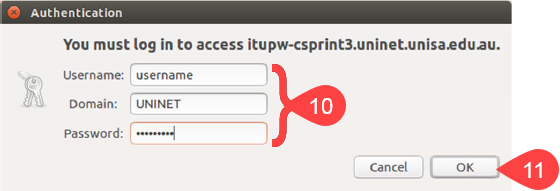 Screenshot of authenticate pop-up