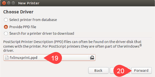 Screenshot of PPD file located and Forward option