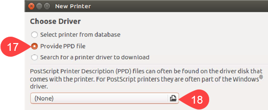 Screenshot of selecting Provide PPD file option