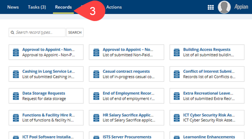 Screenshot of Records section of Appian