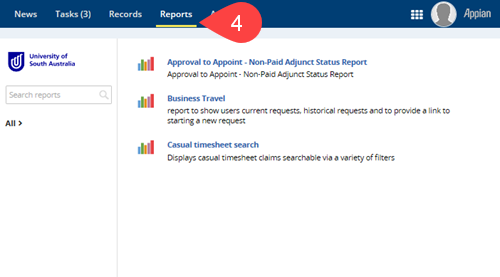 Screenshot of Reports section of Appian