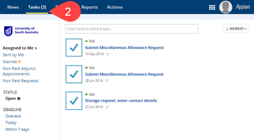 Screenshot of Tasks section of Appian