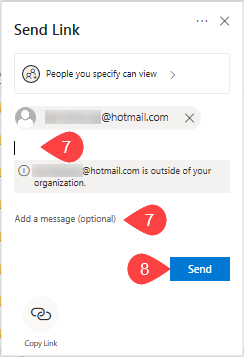 Screenshot of where to add additional email addresses or message