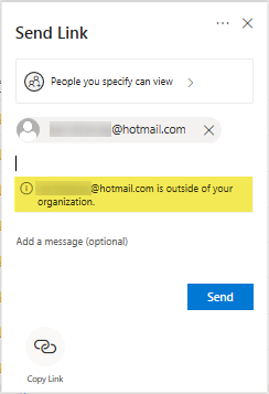 Screenshot indicating email address is outside of UniSA